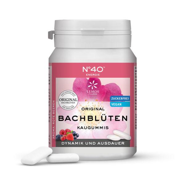 Kaugummi 40 Energie Lemon Pharma Original Bachblüten Bach flowers Dynamik und Ausdauer xylit vegan chewing gum Bachblüten Kaugummi