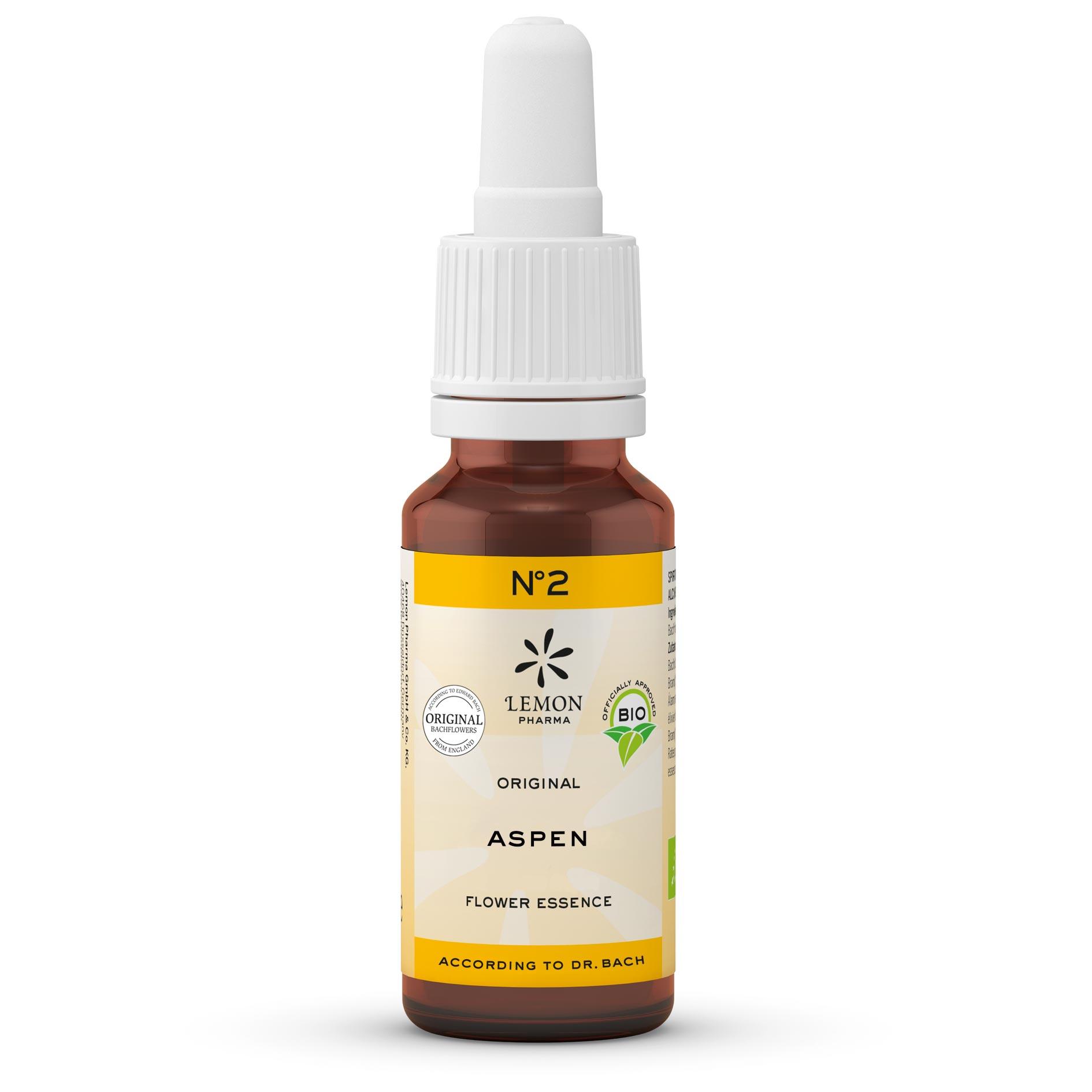 Lemon Pharma Original Bachblüten Tropfen Nr 2 Aspen Zitterpappel Lebensmutes